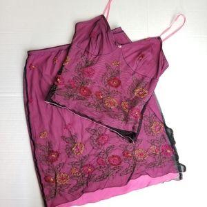 Vintage *2 Piece* 1990s embroidered skirt set